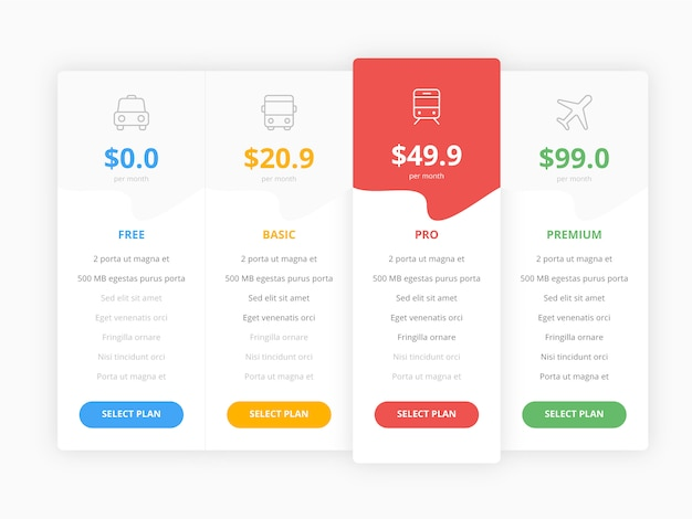 Tabla de precios web con cuatro plantillas de colección de opciones
