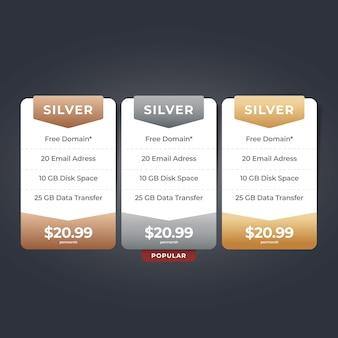 Tabla de precios web diseño de listas de precios de sitios web