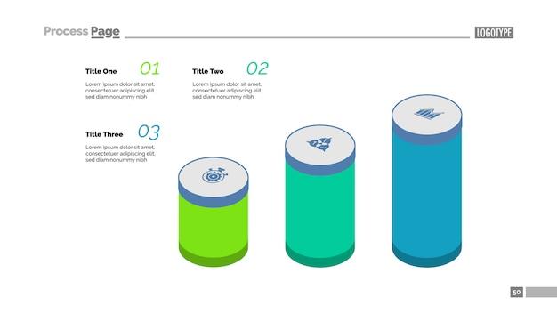 Tabla de proceso de tres pasos. gráfico de barras, diagrama del cilindro, plantilla editable
