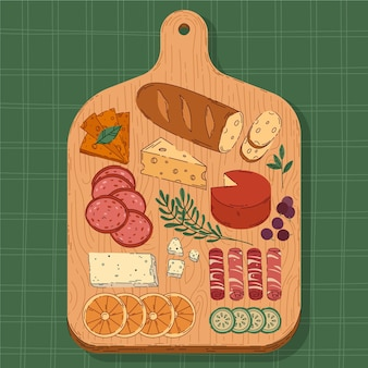 Tabla de quesos dibujada a mano ilustrada
