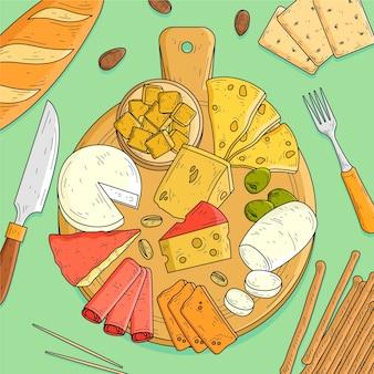 Tabla de quesos dibujados a mano