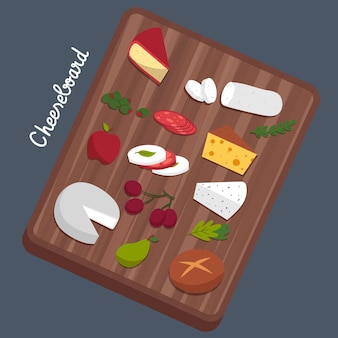 Tabla de quesos gourmet dibujada a mano en tablero de madera