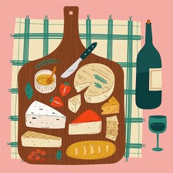 Tabla de quesos de vista superior ilustrada