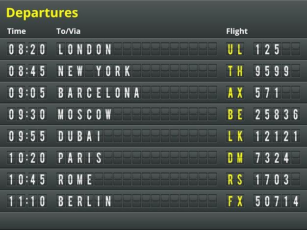 Tabla de salidas del aeropuerto. ilustración para el alfabeto con letras y números.