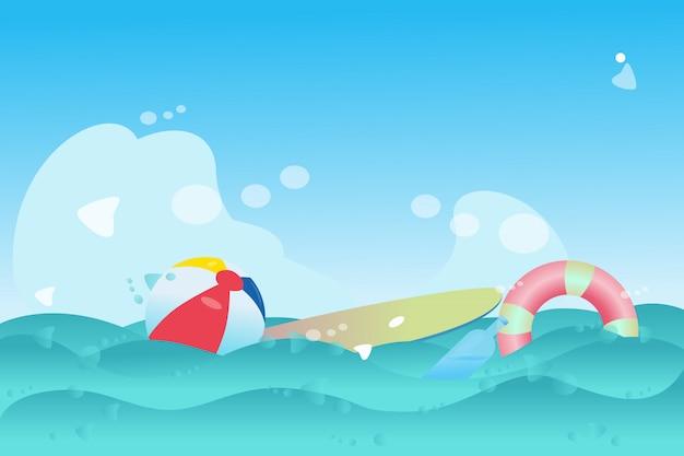 Tabla de surf y cápsula de agua