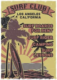 Tabla de surf de pie en la playa con palmeras y puesta de sol en el fondo