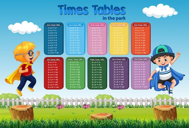 Tabla de tablas de tiempos con dos niños disfrazados de héroe