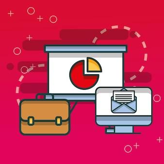 Tabla de tablero de correo electrónico de la computadora y oficina de maletín de negocios