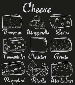 Tabla de tiza en lonchas de queso