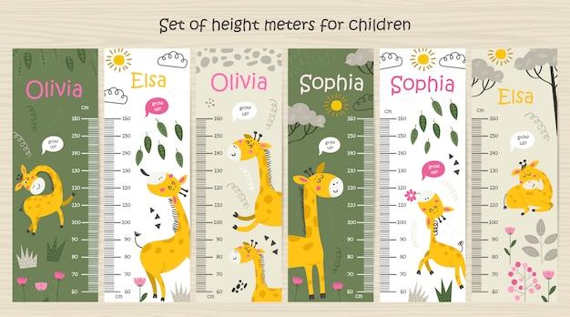 Tablas de altura para niños con jirafas