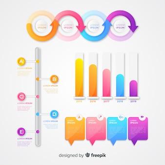 Tablas de estadísticas de infografía de marketing