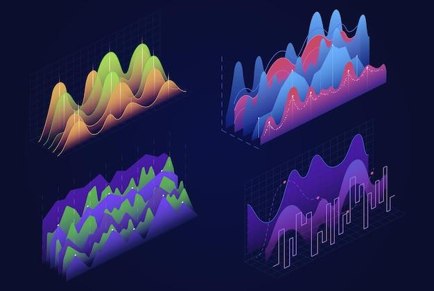 Tablas de gráficos isométricos, diagramas financieros de infografías comerciales, análisis de datos estadísticos