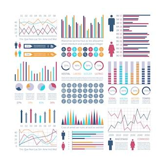 Tablas de infografía. diagrama de flujo financiero gráfico de tendencias. diagramas de población. diagrama de barra de estadísticas. presentación vectorial infografía