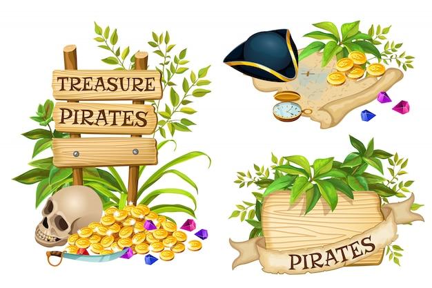 Tablas de madera, artículos piratas y tesoros.