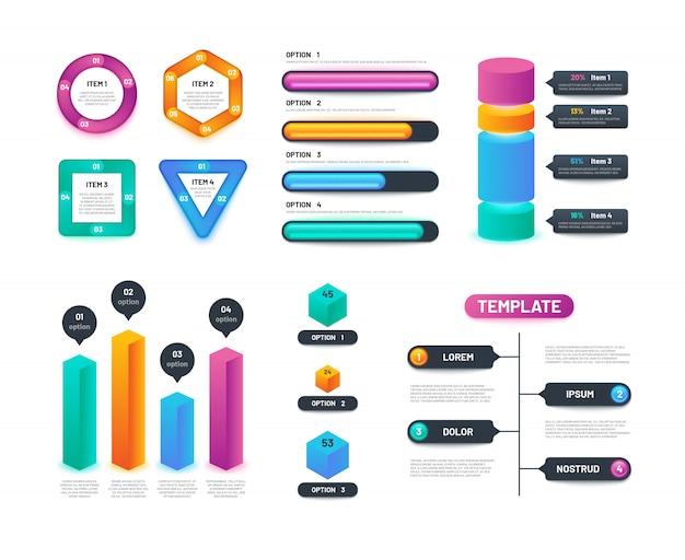 Tablas de negocios, gráficos y diagramas con opciones y pasos. diseño de infografías