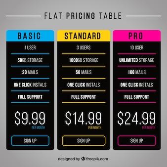 Tablas de precios oscuras con detalles coloridos