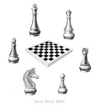 Tablero de ajedrez dibujo a mano estilo vintage en blanco y negro, aislado.