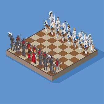 Tablero de ajedrez con figuras humanas blindadas en vista isométrica