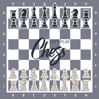 Tablero de ajedrez con figuras