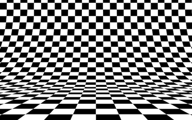 Tablero de ajedrez fondo curvo vacío en perspectiva