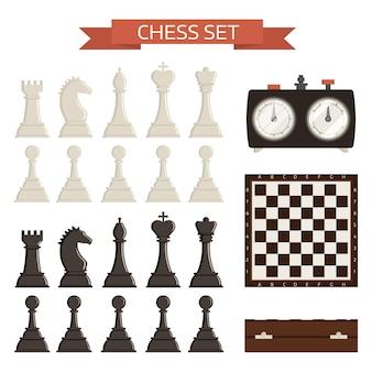 Tablero de ajedrez y kit aislado de piezas de ajedrez