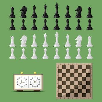 Tablero de ajedrez y vector de piezas de ajedrez.