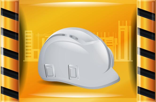 Tablero amarillo con el icono de casco de seguridad de construcción