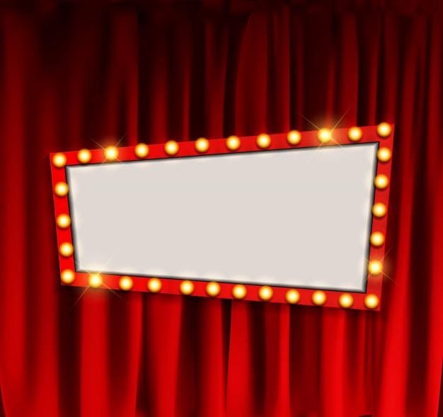 Tablero de anuncio de cine retro realista con marco de bombilla en cortinas. ilustración