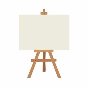 Tablero de arte en blanco y caballete de madera realista