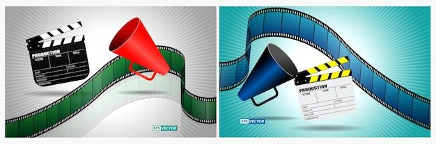 Tablero de azote de cine realista aislado o tira de película tipo cine de 35 mm