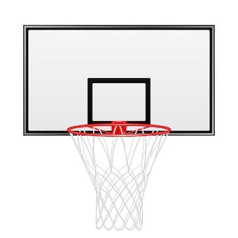 Tablero de baloncesto negro y rojo aislado sobre fondo blanco.