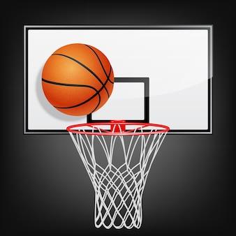 Tablero de baloncesto realista y bola voladora sobre un fondo negro.