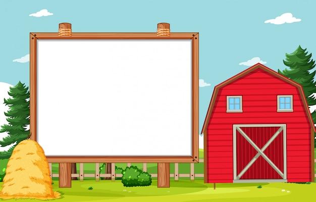 Tablero de banner vacío en paisaje de granja nuture