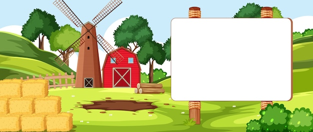 Tablero de banner vacío en el paisaje de la granja nuture