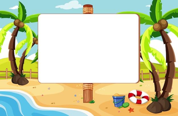 Tablero de banner vacío en un paisaje de playa tropical