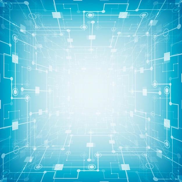Tablero de circuitos futurista abstracto, fondo azul del concepto de la tecnología digital de alta tecnología del ordenador