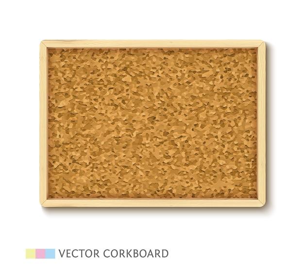 Tablero de corcho con estructura de madera clara. panel de corcho horizontal aislado sobre fondo blanco.