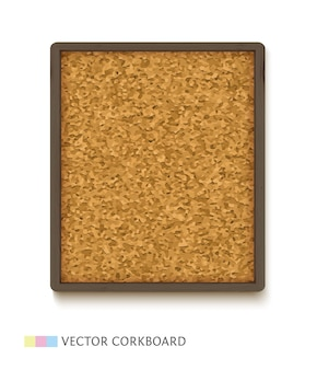 Tablero de corcho con estructura de madera oscura. panel de corcho vertical aislado sobre fondo blanco.