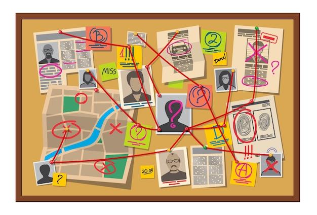 Tablero de crimen con alfileres y evidencia conectada con hilo rojo