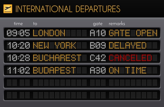 Tablero electrónico del aeropuerto composición realista con salidas internacionales horarios puertas y comentarios descripciones ilustración