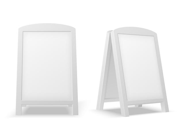 Tablero de exhibición en la acera. soporte publicitario blanco en blanco vacío. señal de venta o banner de la calle. maqueta aislada del vector 3d