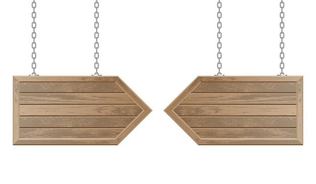 Tablero de flechas de madera colgando de cadenas de acero