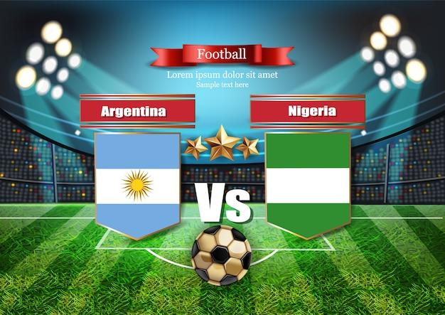 Tablero de fútbol bandera de argentina vs nigeria