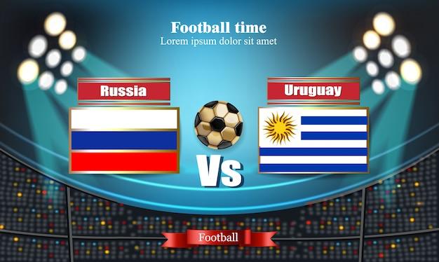 Tablero de fútbol bandera rusa vs uruguay