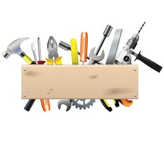 Tablero con herramientas aisladas en blanco