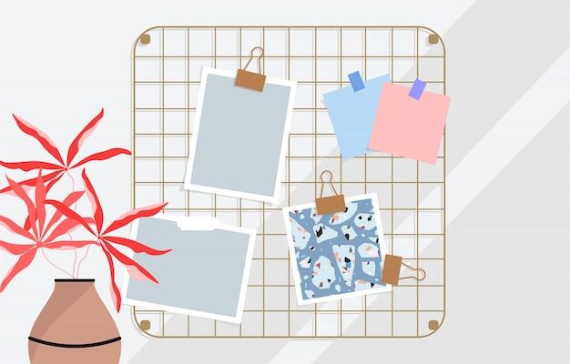 Tablero de humor enrejado de oro, tablero de memoria en la ilustración de la pared. tarjetas en blanco y tarjeta de patrón de terrazo. flor roja en una maceta. diseño minimalista de papelería y espacio de trabajo. ilustraciones de moda.