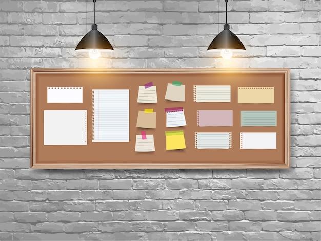 Tablero de ilustración vectorial con marco de madera