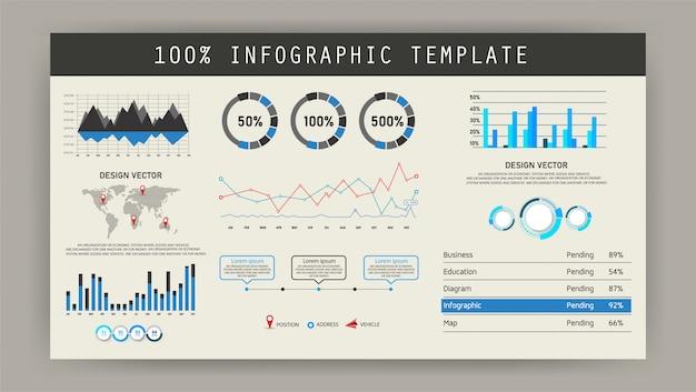 Tablero infográfico. características materiales, utilizado para negocios en educación, diseño futurista, tablero de instrumentos
