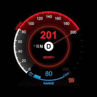 Tablero de instrumentos realista del coche.