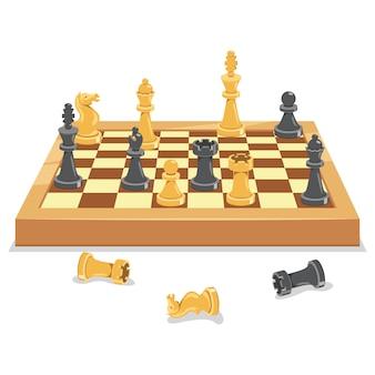 Tablero de juego de ajedrez y piezas